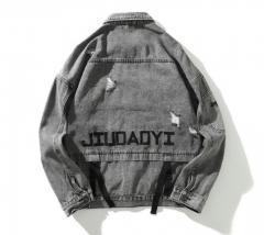 Мужская джынсовая куртка с надписью JIUDAOYI