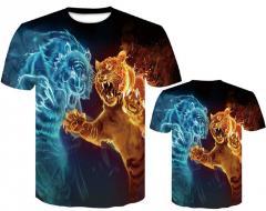 Мужская футболка с 3d принтом Wolf/tiger