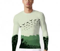 KYKU брендовая кофта с изображением (птицы, леса)