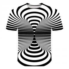 Черно-белая футболка с завитком для мужчин и...
