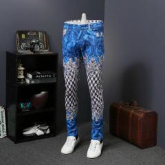 Дизайнерские джинсы с рисунком, мужские облегающие
