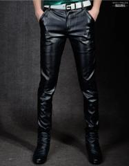 Кожаные штаны в стиле панк золотого, серебристого