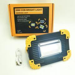 LED Прожектор аккумуляторный COB 20Вт светодиодный