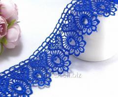 "(1 метр) Кружево макраме 4,5см ""Арфа"" Цвет - Синий электрик (СИНДТЕКС-0967)"