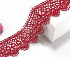 """(1 метр) Кружево макраме 5см """"Завиток"""" Цвет - Красный (СИНДТЕКС-0971)"""