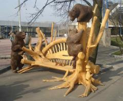 Sculptures from a tree garden. Sculptures are