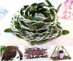 (1 метр) Тесьма шнур косичка с листьями Цвет шнура - Белый (сп7нг-0537)