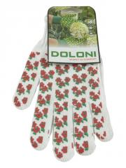 Перчатки ПВХ белые Весенний цветок (4298) DOLONI