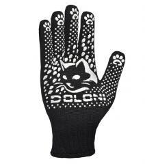 Перчатки трикотажные черные с ПВХ