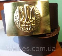 Ремни солдатские кожа с пряжкой латунь с гербом