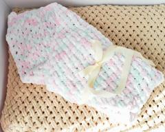 Детский вязаный плюшевый плед - конверт на выписку, одеяло ручная робота 85*85 см