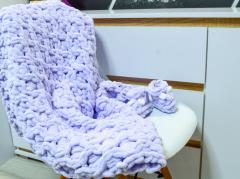 Вязаный плюшевый плед - одеяло ручная робота 85*85 см
