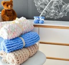 Вязаный плюшевый плед - конверт, одеяло для детей и взрослых