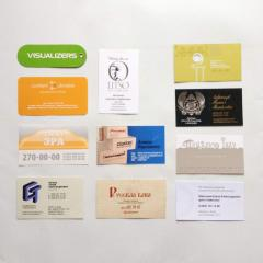 Corporate business cards, design and printing of