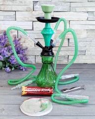 Кальян зеленый 35 см на 3 персоны с углем и