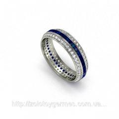 Золотое кольцо с бриллиантами и сапфиром квадрат