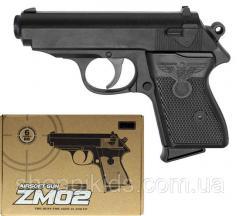 Игрушечный пистолет ZM02 металлический на пульках.