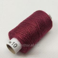 Нитки джинсовые, высокой прочности №10, бордовые col.012 (РАВ-526)