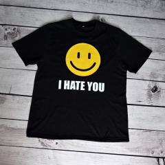 Женская футболка с принтом I hate you smile