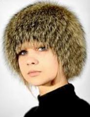 Меховая шапка Сноп из меха кролика от