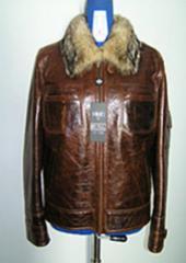 Куртка мужская кожаная, оптовое изготовление,пошив
