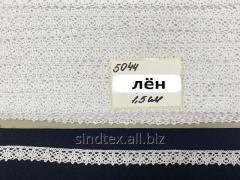 (1 метр) Кружево льняное 1,5см Цвет - Белый (М5044-1)