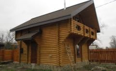 Houses wooden of pine. Baths, furniture wooden on