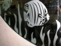 Mirrors in a hall, with drawing. Drawings on glass