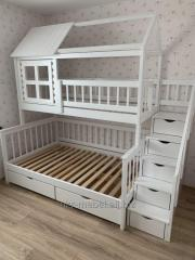 Beds wooden for kindergartens, a day nursery