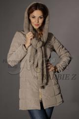 Пальто с шарфом-капюшоном и поясом (мод. 120),