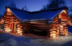 Sound wooden houses, cozy country cottages,