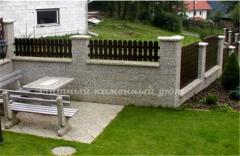 Забор бетонный покрытие галька