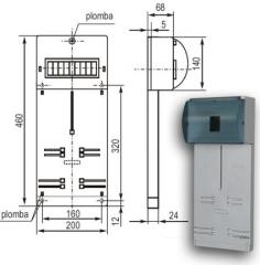 Панель под счетчик 3-фазы+ 9 м шт. 63А 380В с