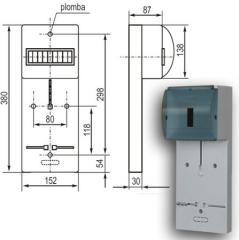 Панель под счетчик 1-фаза + 7 м шт. 25А 380В с