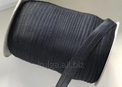Косая бейка стрейчевая 2 см, черная