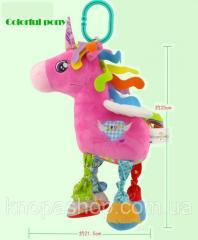 Мягкая игрушка подвеска Радужный Единорог Happy