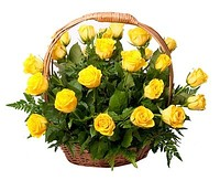 Basket of yellow roses, bouquets and compositions