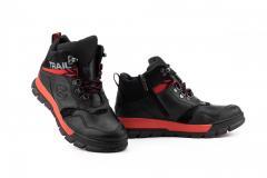 Подростковые ботинки кожаные зимние черные-красные