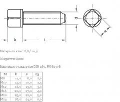 DIN 480 the Screw with a square head, a fillet and