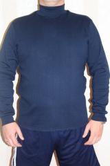 Водолазка мужская теплая с горлом синяя однотонная