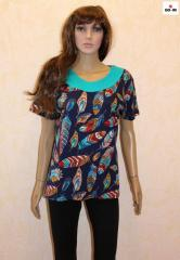 Женская футболка батальная прямая летняя