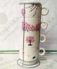 Набор чайный на 4 персоны на подставке