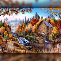 Алмазная вышивка Рання осень в лесу 30x40 The