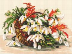 Алмазная вышивка (набор) цветы в лукошке dm-314