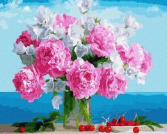 Картина по номерам Букет пионов в вазе, 40х50 см.,