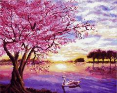 Картина по номерам Q2073 Закат в розовых тонах.