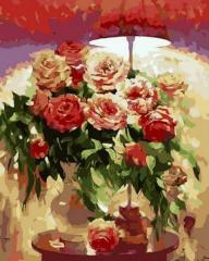 Картина по номерам Букет под красным абажуром.