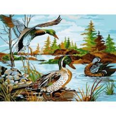Картина по номерам VK208 Дикие утки, 30x40 см.,