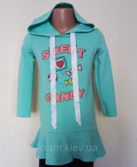 Платье-туника для девочек с капюшоном TM Mevis