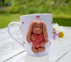 Сувенирная чашка Заяц с сердцем Подарок маме
